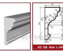 Карниз фасадный с гладким профилем Prestige Decor KC-108 2м